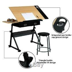 Drafting Drawing Table Desk Art And Craft Adjustable Height with Stool 2 Drawers