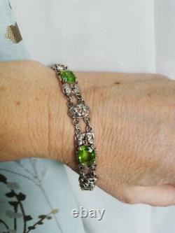 EDITH LINNELL attr 1930s Arts and Crafts silver leaves and peridot bracelet