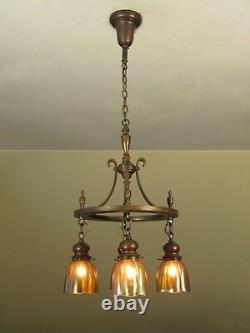 ELEGANT! Antique Arts and Crafts Light Fixture Iridescent Favrile Shades