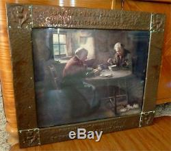 Early Arts & Crafts Copper/wood Frame With Selkirk Grace Prayer By Burns And