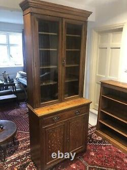 Edwardian Oak Glass Fronted Bookcase Arts And Crafts