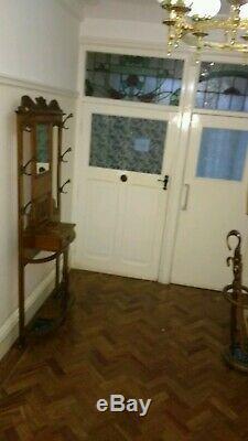 Edwardian Victorian Arts and Crafts Vintage Oak Hallway Coat Stand