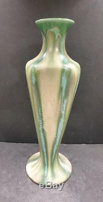 European Belgium Thulin Arts and Crafts Green and Tan Crystalline Vase, 12 MINT