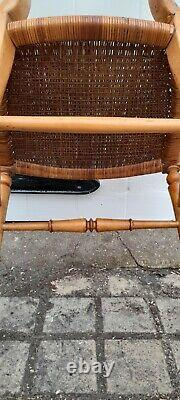 Exquisite Petite French Antique Arts and Crafts Maple Chair with Hand Woven Seat