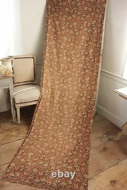 Fabric Antique French cretonne 1880 brown Arts and Crafts material upholstery