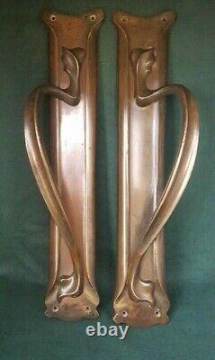 Fabulous Arts and Crafts /Nouveau patinated solid copper handles Leggotts London