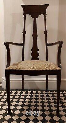 Fantastic antique Arts and Crafts mahogany open armchair