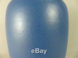 Fine California Faience Arts and Crafts 7 1/2 inch Matte Blue Pottery Vase c1915