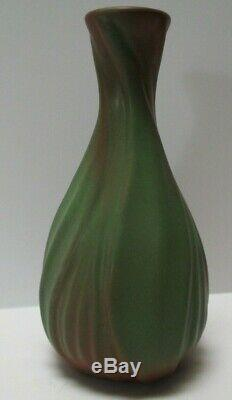 Fine Old Antique Van Briggle Pottery Vase Green Painting Arts And Crafts Rare