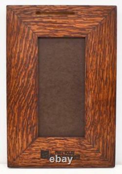 Framed Arts and Crafts Medicine Bluff 4x8 Egret Tile Mitered Oak Frame E201