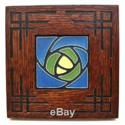 Framed Arts and Crafts Motawi 4x4 Dard Hunter Rose Tile CRVD002
