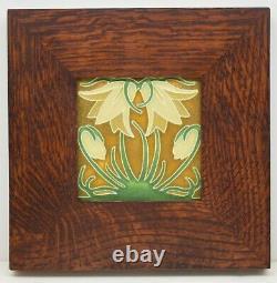 Framed Arts and Crafts Motawi 4x4 Ladybell Tile (Green Oak) E1128