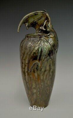 Freiwald Art Pottery BAT luster crater lava vase arts and crafts art nouveau mcm