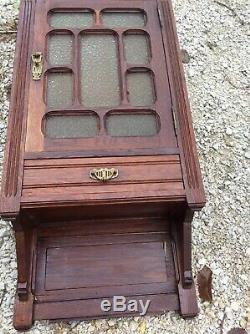 French Wood Medicine Cabinet Arts And Crafts Storage Shelves Vintage Antique