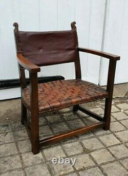 GENUINE Adolf Loos Design Arts and Crafts Leather Fireside Lounge Chair c1930