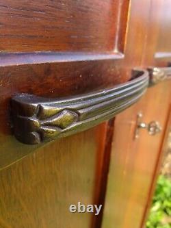 Gentlemans Wardrobe Antique Vintage Oak Compactum Art Deco Arts and Crafts (L)