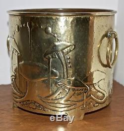 Glasgow School Arts And Crafts Signed Brass Marion Henderson Wilson Jardiniere