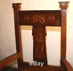 Good Antique Victorian oak large armchair Arts and Crafts inlaid and pewter