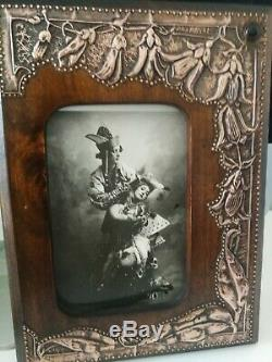 Gorgeous Original Art Nouveau, Arts And Crafts Copper And Wood Photo Frame