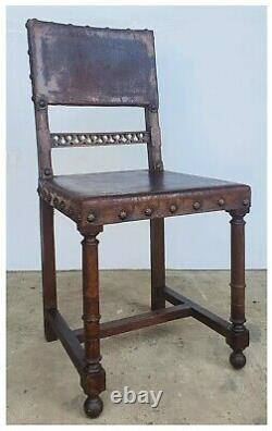 Gothic Arts And Crafts Oak And Leather Chair