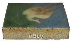 Grueby Pottery Four Color Crane Bird Scenic Arts and Crafts Tile (Erickson)