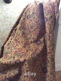HEAVY-HUGE VINTAGE CURTAINS ARTS & CRAFTS STYLE WOVEN TAPESTRY 120l EACH 61w