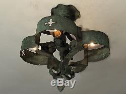 HISTORIC! Antique Arts and Crafts Hammered Copper Mission Light Fixture RARE