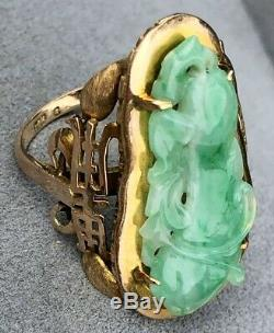 HUGE Antique Arts and Crafts 14K Yellow Gold Carved Jade Jadeite Ring Asian