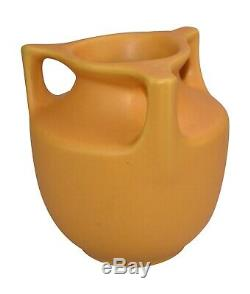 Haeger Pottery Matte Yellow Three Handled Arts and Crafts Vase No. 43
