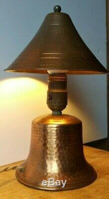 Hammered Copper, Arts And Crafts Desk/table Lamp. Original Wiring, Shade, Finial