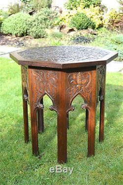 Hand carved hardwood Arts and Crafts Moorish hexagonal lamp table circa. 1900