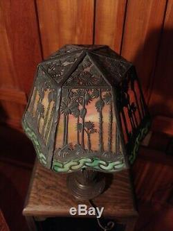 Handel S Palm desk lamp, mission, arts and crafts