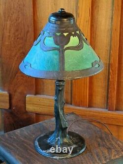 Handel abstract tulip desk lamp1 of 2 available, mission arts and crafts