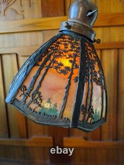 Handel pine landscape floor/table lamp, mission, arts and crafts