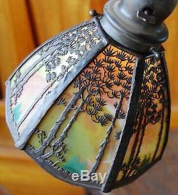 Handel pine tree landscape adjustable floor lamp, mission, arts and crafts