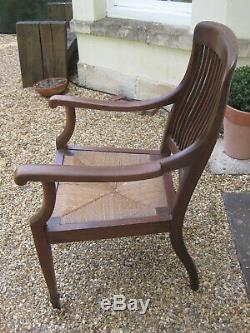 Handsome Arts and Crafts Rush Seated Desk Chair ##