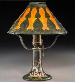 Heintz Bronze Silver Overlay and Mica Arts & Crafts Table Lamp