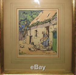 Helen G Stevenson'30s British Color Woodblock Hen Wife Listed Scottish Artist
