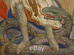 Huge 1900 Pre-Raphaelite Arts And Crafts St Micheal Serpent Edward Burnes-Jones