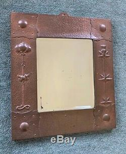 J & F Pool of Hayle Arts and Crafts copper bevelled mirror flowers and thistle