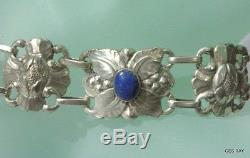 KALO Hand Wrought Sterling ARTS and CRAFTS Flowers BRACELET Antique Chicago