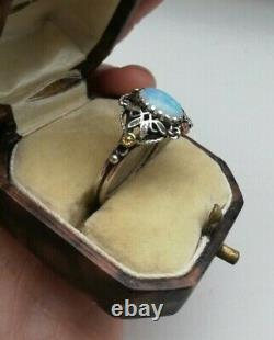 KATE EADIE c1910 RARE Arts and Crafts opal, silver, gold, enamel ring UK R. 5