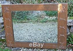 Large Antique Glasgow School Arts And Crafts Copper Wall Mirror