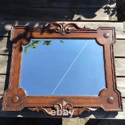 Large Antique Heavy Oak Edwardian Arts And Crafts Design Bevelled Edge Mirror