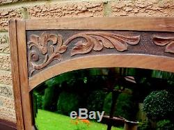 Large Antique Mirror Arts And Crafts Rustic Shaped Beveled Glass c. 1900/10
