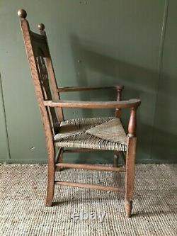 Large Antique Victorian Arts And Crafts Art Nouveau Kitchen Dining Carver Chair