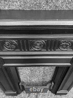 Large Antique Victorian / Arts And Crafts Cast Iron Fireplace / Fire Surround