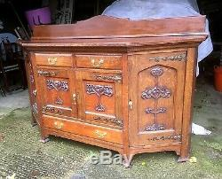 Large Arts And Crafts Carved Oak Breakfront Sideboard