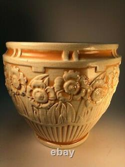 Large Early Roseville Jardiniere Floral Theme Old Arts and Crafts Pottery Vase
