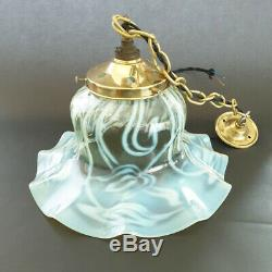 Large Walsh & Walsh Arts and Crafts Vaseline glass ceiling/pendant light